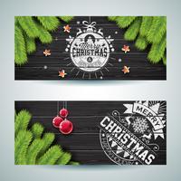 Vector Merry Christmas-bannerillustratie met typografieontwerp en de tak van de pijnboomboom op uitstekende houten achtergrond.