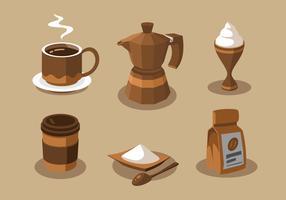 Koffie elementen Clipart Vector Set