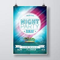 Vector zomer nacht feest folder ontwerp met paradijselijke eiland op oceaanlandschap