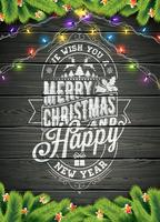 Vrolijke Kerstmis en Gelukkige Nieuwjaarillustratie op Uitstekende Houten Achtergrond met Typografie en Vakantieelementen, Vectoreps 10 ontwerp.