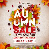 Herfst verkoop ontwerp met vallende bladeren en belettering op lichte achtergrond. Herfst vectorillustratie met speciale aanbieding typografie elementen voor coupon