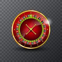 Vectorillustratie op een casinothema met roulettewiel op transpareentachtergrond.