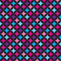 Vector naadloze patroonillustratie met blauwe en roze elementen op zwarte achtergrond.