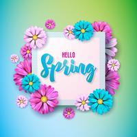 De aardontwerp van de lente met mooie kleurrijke bloem op schone achtergrond