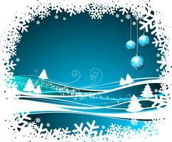 Vectorkerstmisillustratie met glasballen op de winterachtergrond. vector