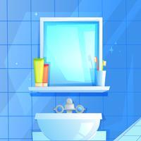 Spiegel met een plank waarop een glas, tandpasta en borstel