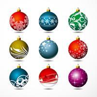 Negen geïsoleerde Kerstmisbal op witte achtergrond. vector
