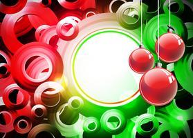 Vakantieillustratie met rode Kerstmisbal op abstracte cirkelachtergrond. vector