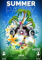 Vector zomer Beach Party Flyer Design met luidsprekers en zonnebril