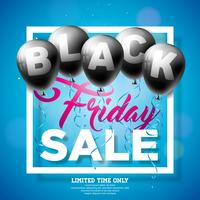 Black Friday verkoop vectorillustratie met glanzende ballonnen op donkere achtergrond. Promotie ontwerpsjabloon voor spandoek of poster. vector