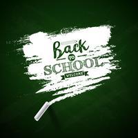 Terug naar schoolontwerp met krijt en typografie het van letters voorzien op groene bordachtergrond Vectorillustratie voor groetkaart, banner, vlieger, uitnodiging, brochure of promotieaffiche.