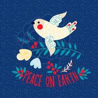 Vredesduif. Kerst uitnodigingskaart vector