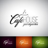 Coffekop Vector Logo ontwerpsjabloon. Set van Cofe Shop label illustratie met verschillende kleuren.