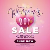 Womens dag verkoop ontwerp met lucht ballon hart op roze achtergrond vector