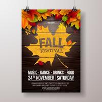 Autumn Party Flyer Illustration met vallende bladeren en typografie ontwerp op vintage houten achtergrond. Vector herfst herfst Festival ontwerp voor uitnodiging of vakantie viering Poster.