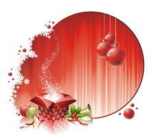 Vectorkerstmisillustratie met giftdoos op rode achtergrond
