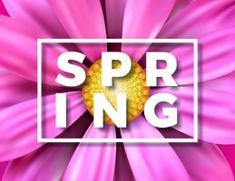 Vector de lenteillustratie met mooie kleurrijke bloem op Roze achtergrond