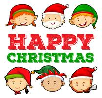 Kerstkaartontwerp met santa en elf vector
