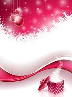Vector Merry Christmas Holiday illustratie met magische geschenkdoos en sneeuwvlokken op rode achtergrond.