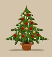 cartoon gestileerde spar met speelgoed. kerstboom versierde stapel ballen, icecle en garland. spar in pot. vrolijk kerstfeest en een gelukkig nieuwjaar vector