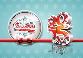 VectorVector Gelukkig Nieuwjaar 2015 rode vieringsachtergrond met lint. vector