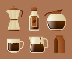 Koffie elementen Clipart Set