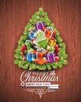 Vrolijke Kerstmis en Gelukkig Nieuwjaar typografisch ontwerp met vakantieelementen op houten textuurachtergrond.