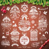 Vector Vrolijke Kerstmisvakantie en Gelukkige die Nieuwjaarillustratie met typografisch ontwerp op uitstekende houten textuurachtergrond wordt geplaatst
