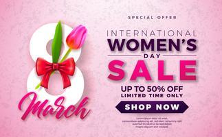 Womens dag verkoop ontwerp met mooie kleurrijke bloem op roze achtergrond vector