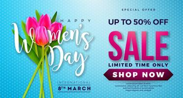 Womens dag verkoop ontwerp met prachtige kleurrijke bloem op blauwe achtergrond vector