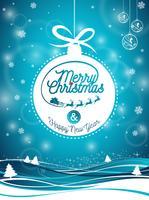 Vector Vrolijke Kerstmisvakantie en Gelukkige Nieuwjaarillustratie met typografisch ontwerp en sneeuwvlokken op de achtergrond van het de winterlandschap.