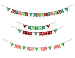 kerst vlaggen slingers. vector set nieuwjaar driehoekige vakantiegorzen. tekst vrolijk kerstfeest, gelukkig nieuwjaar en ho ho van de kerstman. decoratie collectie