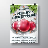 Vector Merry Christmas Party-ontwerp met vakantie typografie elementen en glazen bollen