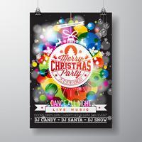 Merry Christmas Party illustratie met vakantie typografie ontwerpen in abstracte glazen bal op glanzende kleur achtergrond. vector