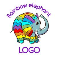 Multicolor Elephant embleem voor uw bedrijf