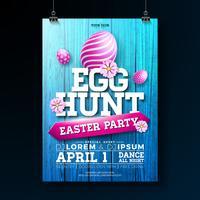 Vector Egg Hunt Easter Party Flyer Illustratie met beschilderde eieren, bloemen en typografie elementen op vintage houtstructuur achtergrond. Lente vakantie viering poster ontwerpsjabloon.