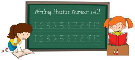 Schrijven van nummer tracing werkbladen