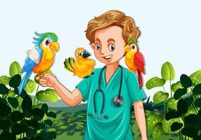 Een mannelijke dierenarts verpleegster en papegaaien
