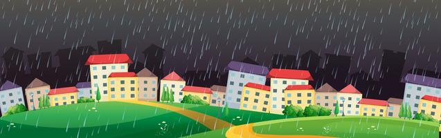 Stadsscène met regen in donkere hemel