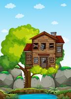 Oude houten treehouse op de boom