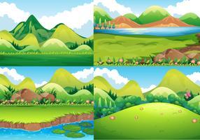 Vier achtergrondscènes met groen gebied en rivier