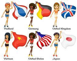 Mensen en vlaggen vector