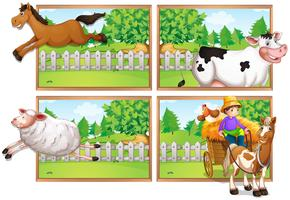Landbouwhuisdieren en boer op wagen