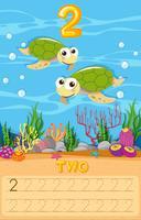 Twee zeeschildpad nummer werkblad vector