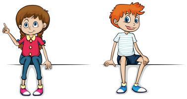 Meisje en jongen zittend op een witte achtergrond vector