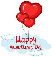 Velentine-kaartsjabloon met hart ballonnen