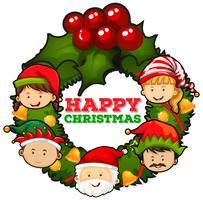 Kerstthema met mistletoes en mensen vector