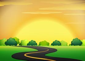 Kant van de weg met gouden hemel landschap