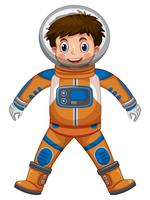 Gelukkige jongen in astronautenkostuum