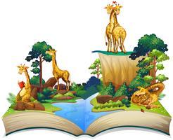 Boek met giraffen die bij de rivier wonen vector